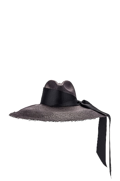 Panama Hat With Maxi Bow in Black
