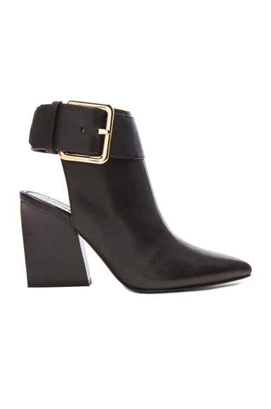 Ice Open Heel Leather Buckle Booties
