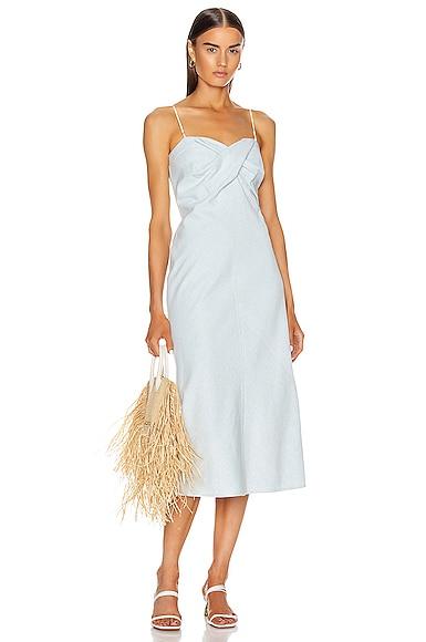 Sabina Light Washed Denim Bias Bustier Dress