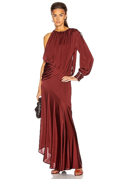 Gia Fluid Satin Jersey Draped Evening Gown