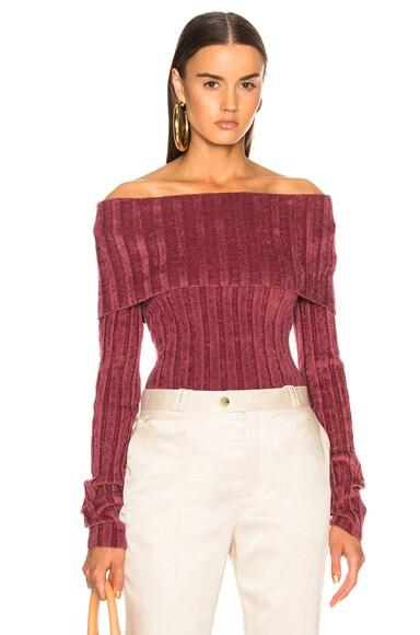Daphne Velour Rib Off Shoulder Sweater