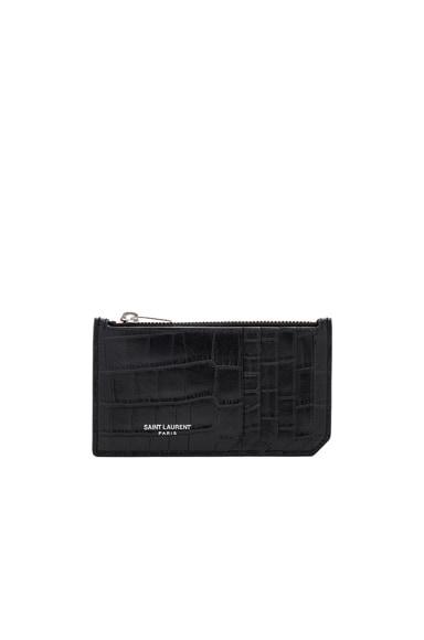 Matte Croc Zipped Fragments Credit Card Case