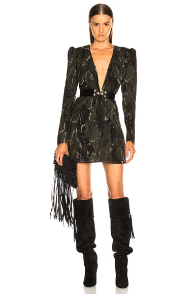 Camouflage Plunging Mini Dress