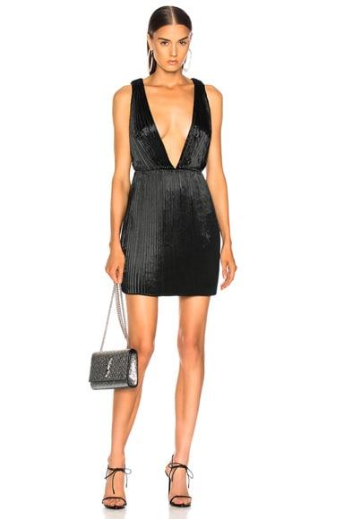 Velvet Plunging Mini Dress