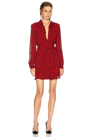 Long Sleeve Leopard Mini Dress