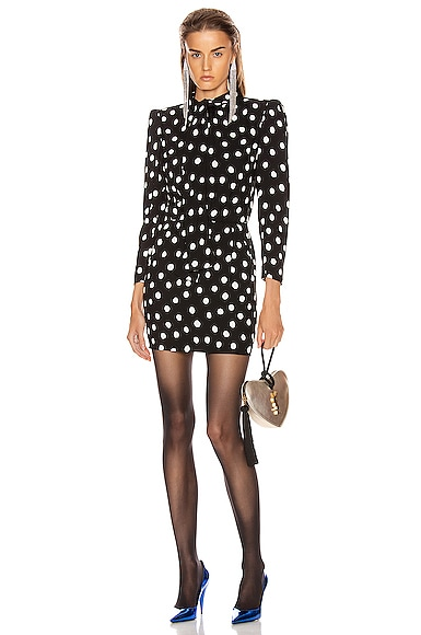 Saint Laurent Pussy-Bow Polka-Dot Crepe Mini Dress In Black & White