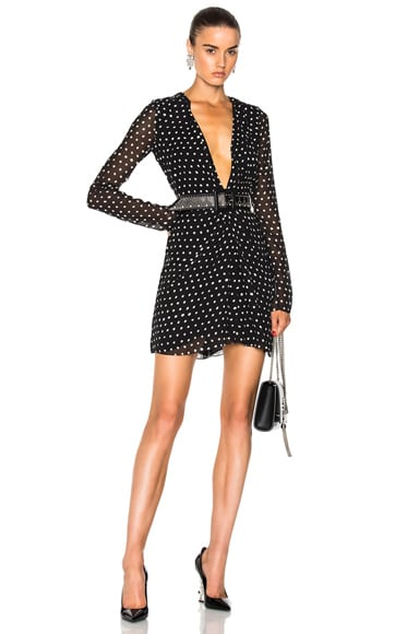 Plunging Polka Dot Mini Dress