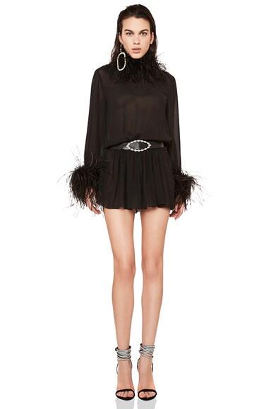 Feather Trim Washed Silk Mini Dress