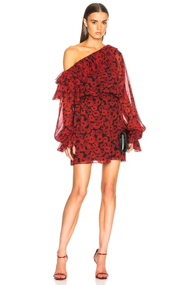 Georgette Poppy Print One Shoulder Dress