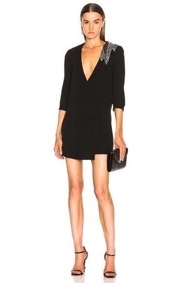 Embellished Blazer Wrap Dress