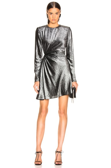Knot Detail Metallic Velvet Mini Dress
