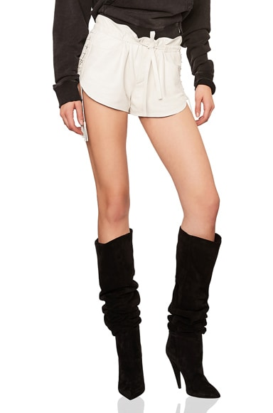 Lace Up Sides Slouchy Leather Shorts