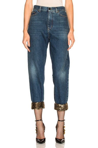 Sequin Embellished Baggy Jeans