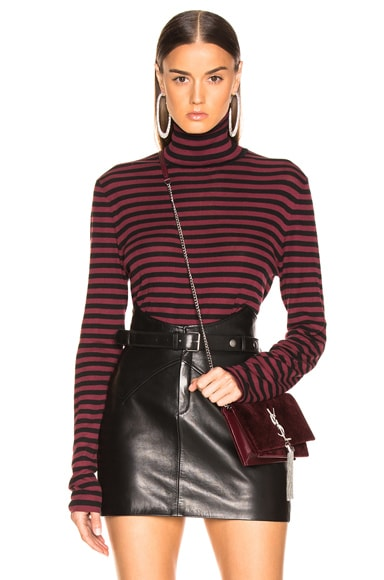 Striped Turtleneck Fitted Sweater