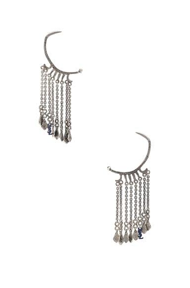 Beaded Drop Hoop Earrings