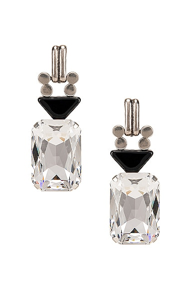 Crystal Stone Clip Earrings