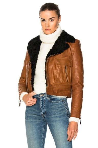 Lamb Shearling Trim Classic Motorcycle Jacket