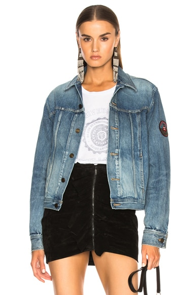 Pleated Denim Jacket with Shoulder Patch