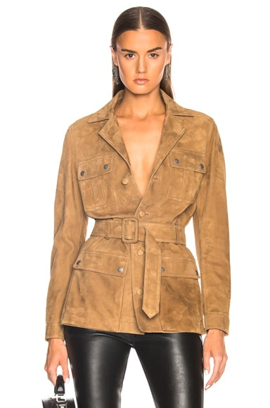 Suede Belted Safari Jacket