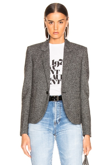 Tweed One Button Blazer