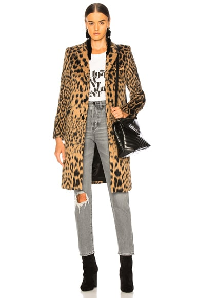 Leopard Print Chesterfield Coat