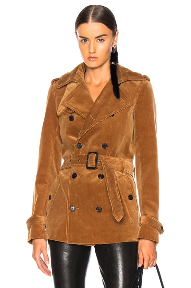 Corduroy Short Trench Coat