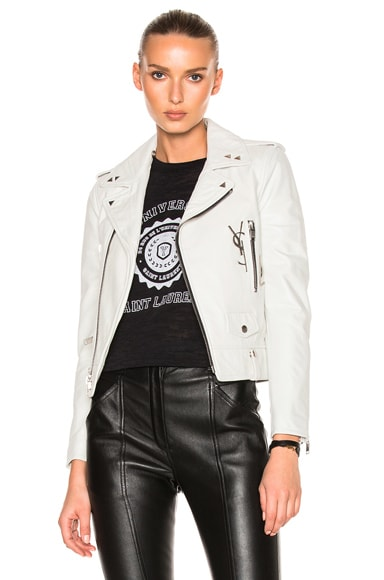 Leather Jacket with Logo and Brooch
