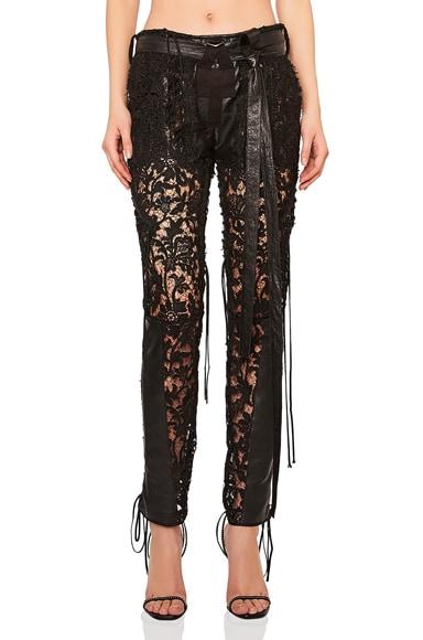 Lace Up Lace & Leather Pants