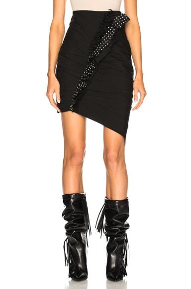 Gabardine Ruffle Trim Pleated Mini Skirt
