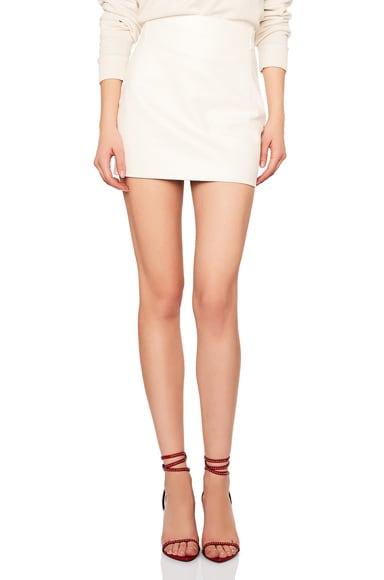 Classic High Waisted Leather Mini Skirt