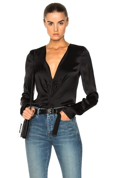 Deep V Drape Blouse