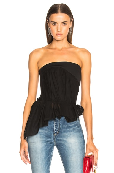 Cotton Voile Strapless Draped Top