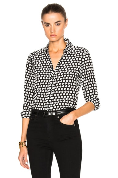 Polka Dot Crepe de Chine Blouse