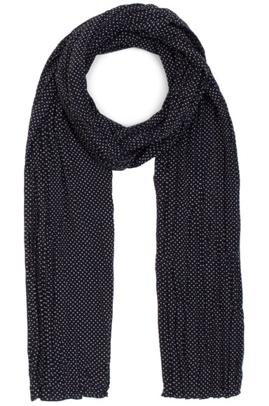 Pleated Crepe De Chine Dot Scarf