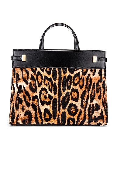 Leopard Calf Fur Manhattan Shoulder Bag