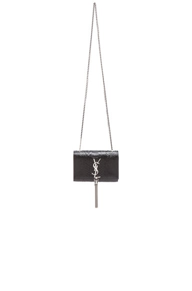 Small Monogram Embossed Python Chain Tassel Bag