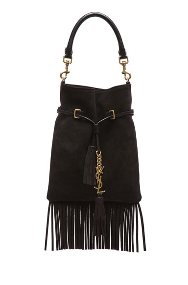 Monogram Suede Fringe Bucket Bag