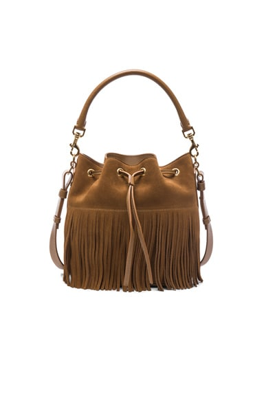 Medium Suede Fringe Emmanuelle Bucket Bag