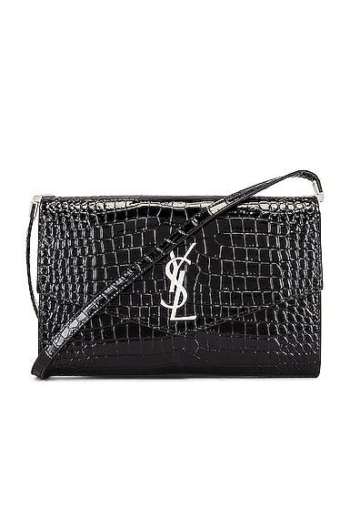 Embossed Croc Monogramme Chain Wallet Bag