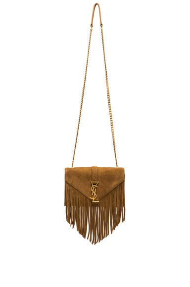 Small Suede & Fringes Monogramme Chain Bag