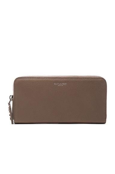 Zip Around Wallet in Taupe