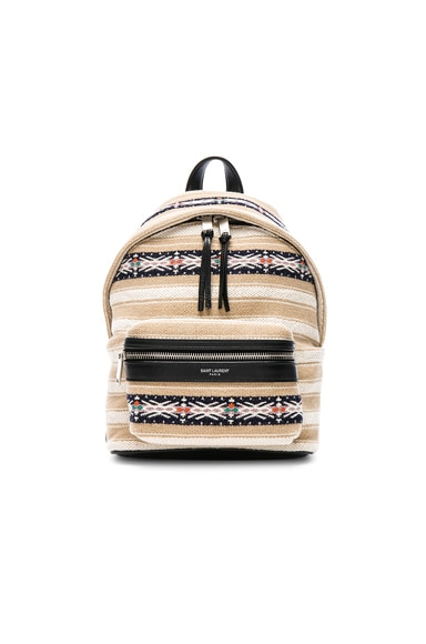 Toy Canvas & Leather Ikat Strap City Backpack