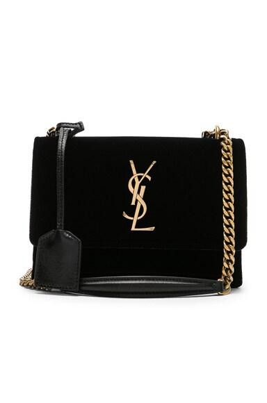 Small Velvet & Leather Sunset Chain Bag