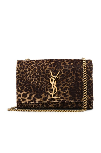 Small Leopard Print Velvet Monogramme Kate Chain Bag
