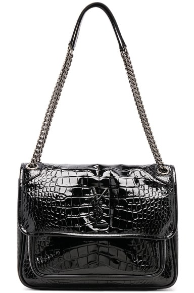 Medium Niki Croc Embossed Monogramme Chain Bag