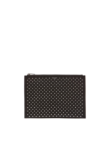 Paris Studded Zip Clutch
