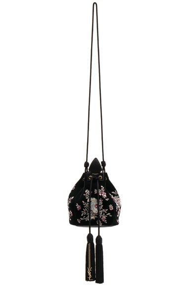 Small Velvet Embroidered Anja Bucket Bag