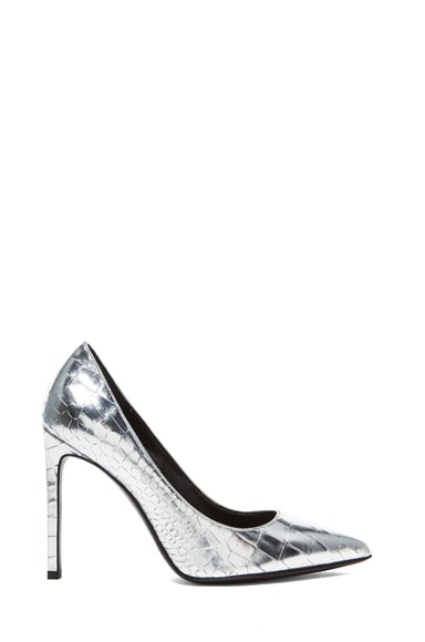 Paris Crocodile Embossed Calfskin Leather Pumps