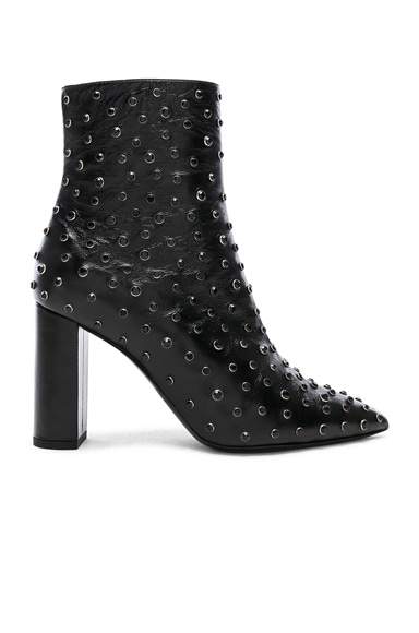 Betty Crystal Embellished Leather Heeled Ankle Boots