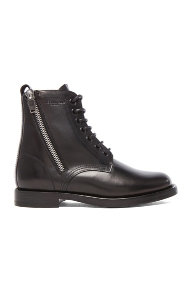 Leather Ranger Zipper Combat Leather Boots